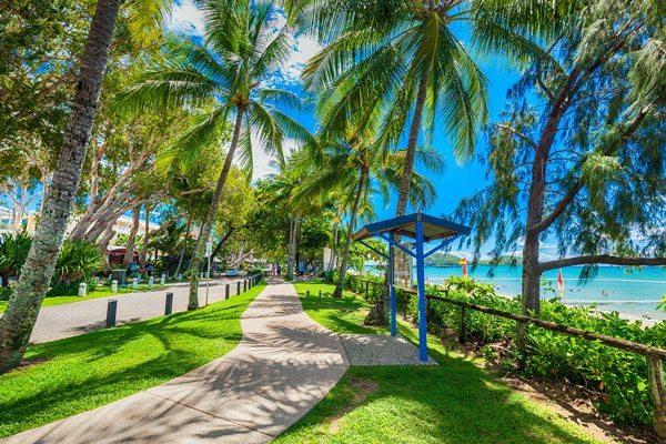 A waterfront promenade featuring Oz Tuff Sports Grass